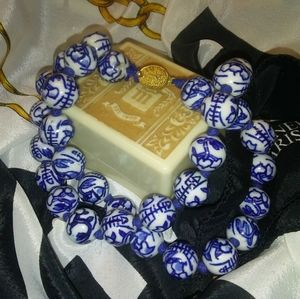 Antique Chinese Blue Pottery Bead Necklace